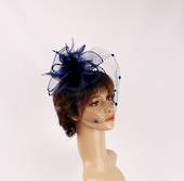 Head band crin  fascinator w feathers and net navy STYLE: HS/4675 /NVY