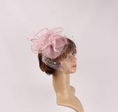 Head band crin  fascinator w feathers and net blush STYLE: HS/4675 /BLUSH