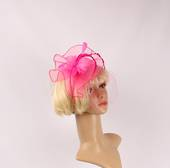 Head band crin  fascinator w feathers hot pink STYLE: HS/4676 /HP