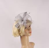 Head band crin  fascinator w feathers silver STYLE: HS/4676 /SIL