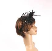 Head band crin  fascinator w feathers and beads black STYLE: HS/4677 /BLK