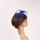Head band crin  fascinator w feathers and beads hot blue STYLE: HS/4677 /BLU