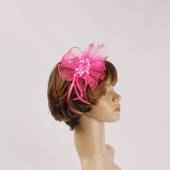 Head band crin  fascinator w feathers and beads hot pink STYLE: HS/4677 /HP