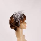 Head band crin  fascinator w feathers and beads silver STYLE: HS/4677 /SIL