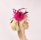 Head band feather  fascinator  hot pink w black contrast STYLE: HS/4678 /HP
