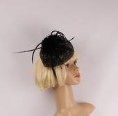 Head band pillbox  hatiinator w sequins and feathers black STYLE: HS/4679/BLK