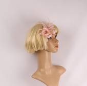 Linen clip fascinater w feathers flower blush STYLE: HS/4686/BLSH
