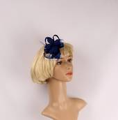 Linen fascinater w beads and feathers blue STYLE: HS/4687/BLU