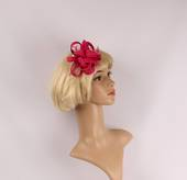 Linen fascinater w beads and feathers hot pink STYLE: HS/4687/HP