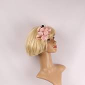Linen fascinater w beads and feathers blush STYLE: HS/4687/BLSH