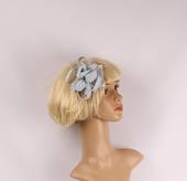 Linen fascinater w beads and feathers silver STYLE: HS/4687/SIL
