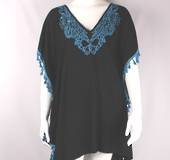 Alice&Lily turquoise colored embroidered and black caftan Style: SC/4521BT