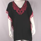 Alice&Lily hot pink colored embroidered and black caftan Style: SC/4521HT