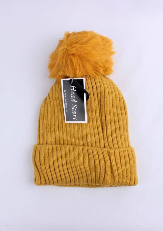 Headstart  cashmere fleece lined beanie mustard Style : HS/4748MUS