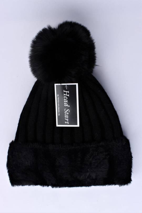 Headstart  wool viscose fleece lined beanie black  Style : HS/4750BLK