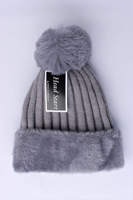 Headstart  wool viscose fleece lined beanie grey Style : HS/4750GRY