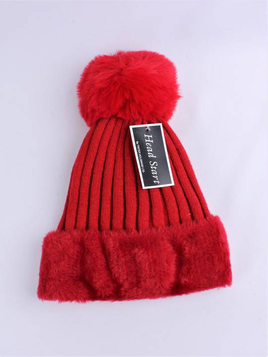 Headstart  wool viscose fleece lined beanie red  Style : HS/4750RED