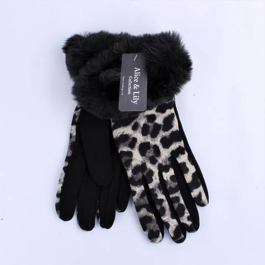 Winter ladies animal glove black Style; S/LK4761/BLK