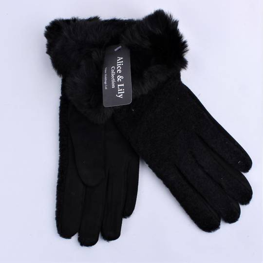 Winter ladies boucle thermal glove w faux fur cuff black and black Style; S/LK4762/BLK
