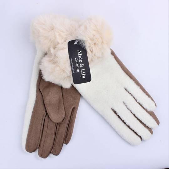 Winter ladies boucle thermal glove w faux fur cuff cream and tan Style; S/LK4762/TAN