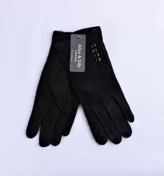 Winter ladies textured glove w button  trim black Style; S/LK4765/BLK