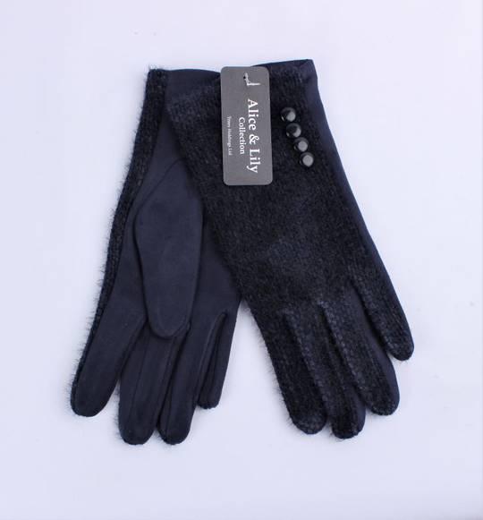 Winter ladies textured glove w button  trim navy Style; S/LK4765/NVY