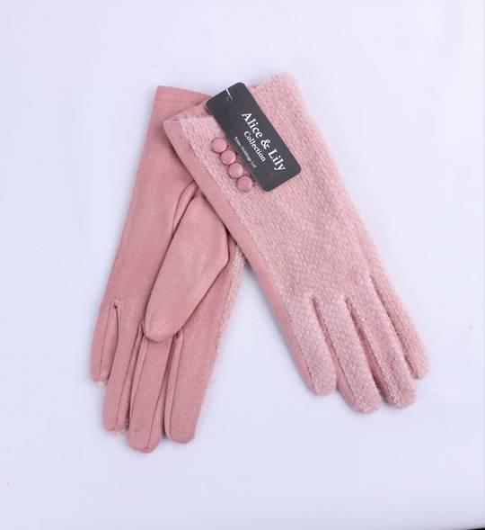Winter ladies textured glove w button  trim pink Style; S/LK4765/PNK