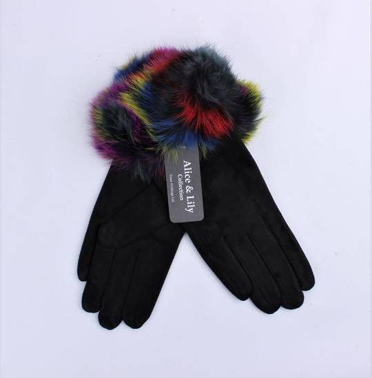 Winter ladies thermal glove w multi coloured fur cuff  Style; S/LK4766