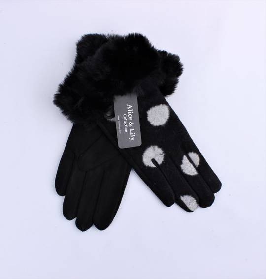 Winter ladies thermal lined glove w large spot and faux fur cuff black  Style; S/LK4767BLK