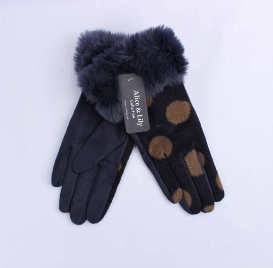 Winter ladies thermal lined glove w large spot and faux fur cuff navy  Style; S/LK4767NVY