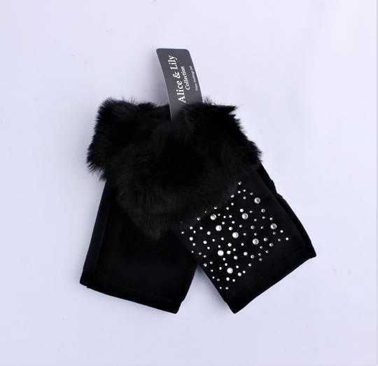 Winter ladies glove w diamante and faux fur cuff fingerless black  Style; S/LK4769BLK