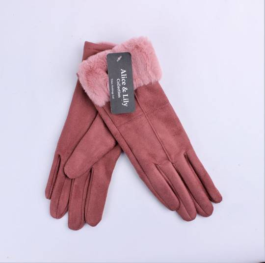 Winter ladies thermal lined glove w faux fur cuff pink  Style; S/LK4770PNK
