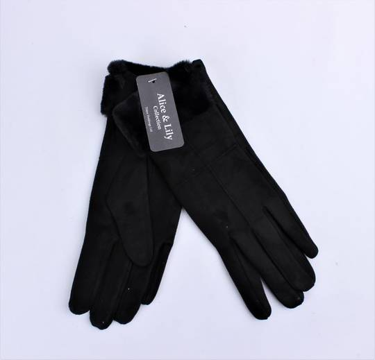 Winter ladies thermal lined glove w faux fur cuff black  Style; S/LK4770BLK