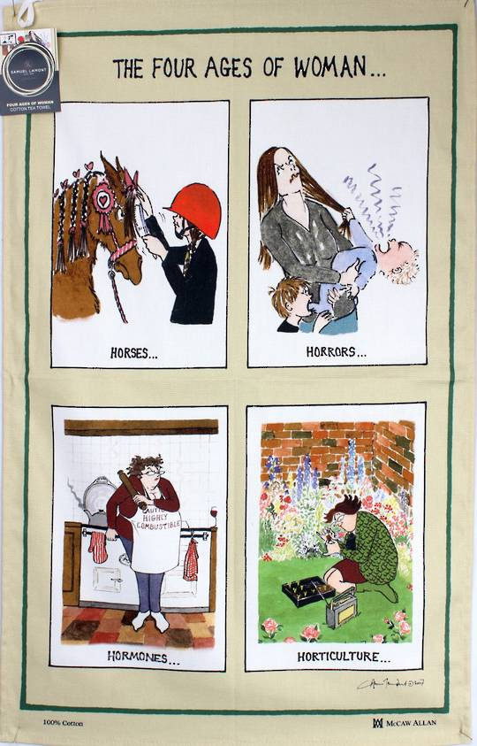 Samuel Lamont 'The Four Ages of Woman' tea towel Code : TT-637. (NEXT DELIVERY APRIL 2021)