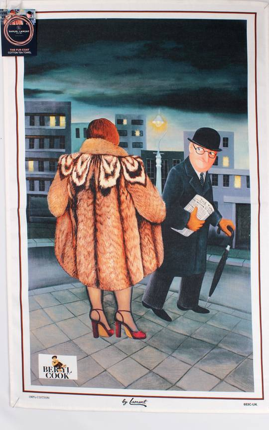 "Samuel Lamont ""The fur coat"" tea towel. A Beryl Cook print Code: TT-653"