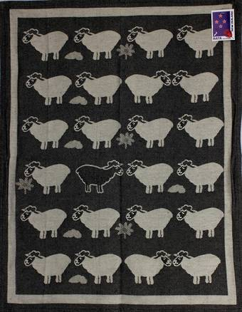 """Sheep Country"" tea towel black. Code: S730/BLK."