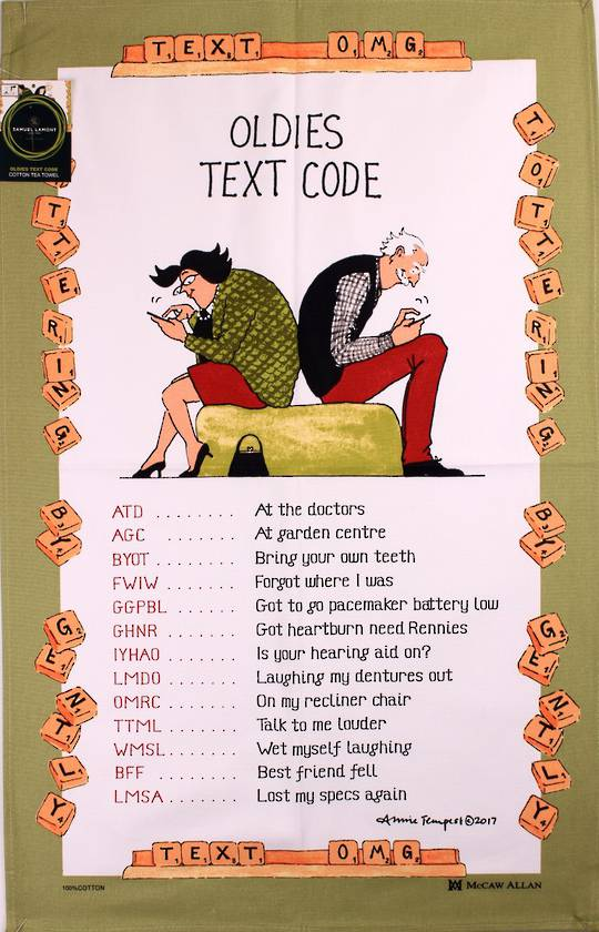 "Samuel Lamont ""Oldies text codes""  tea towel. Code: TT-945. (NEXT DELIVERY APRIL 2021)."