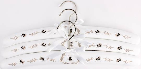 Embroidered coat hangers-set of 3 'Bee' Code:EH/BEE. (NEXT DELIVERY MAY 2021)