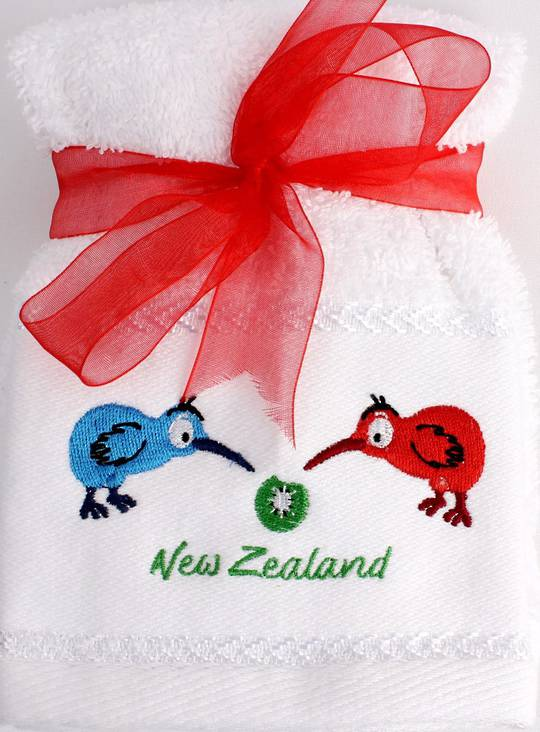Matching Embroidered 2 facecloth gift set- Bright Kiwi Code: FAC-BK/2SET