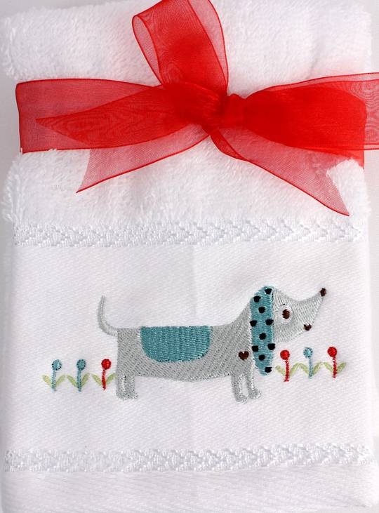 Matching Embroidered 2 facecloth gift set- Dog Code: FAC-DOG/2SET