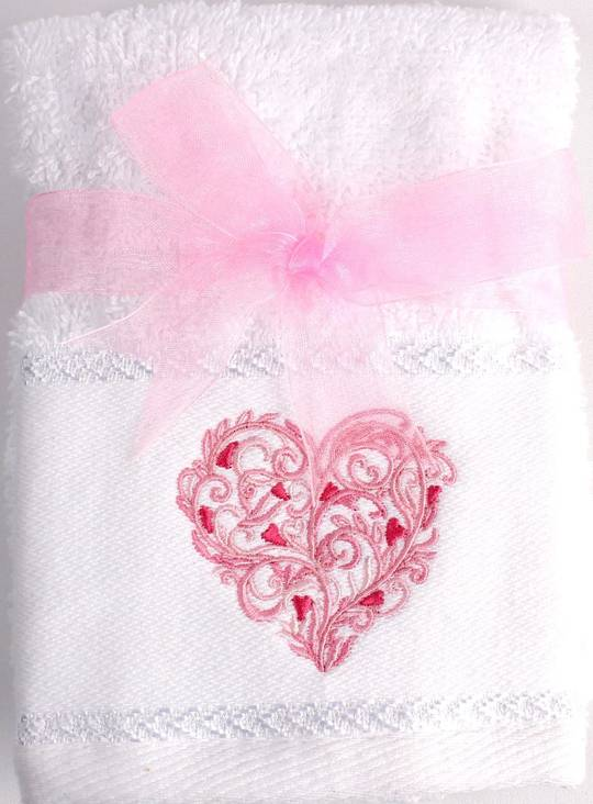 Matching Embroidered 2 facecloth gift set- Heart Code: FAC-HEA/2SET
