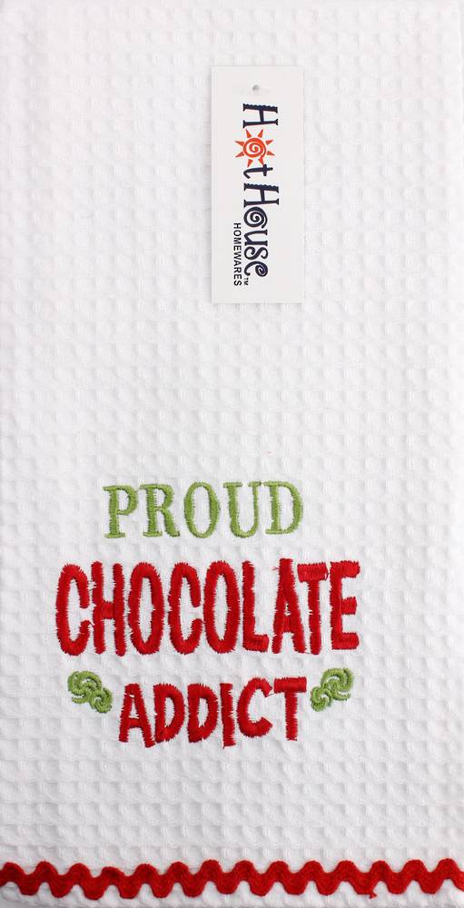 "Novelty ""Proud chocolate addict"" tea towel Code:T/T-GF/CHO/ADD"