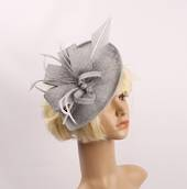 Linen headband fascinater w  bow and feather grey STYLE: HS/4684 /GRY