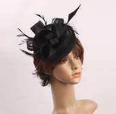 Linen band hatinater w sinamay bow and feather  black STYLE: HS/4685 /BLK