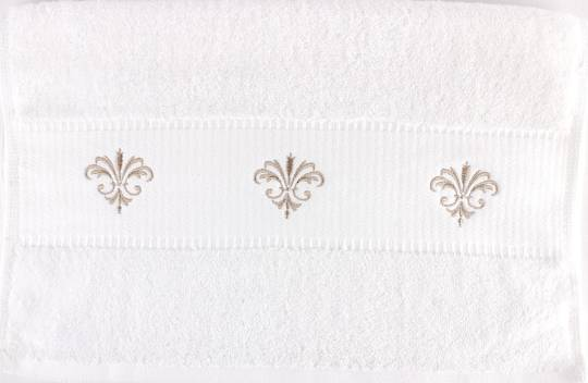 Embroidered cotton hand towel 40x80cm 'Fleur' Code: HT-FLEUR. (NEXT DELIVERY MAY 2021)