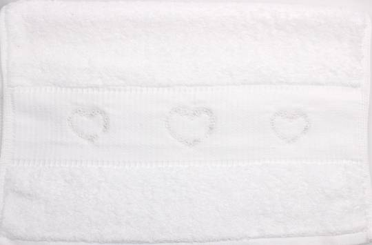 Embroidered cotton hand towel 40x80cm 'Hearts' Code: HT-HEA (NEXT DELIVERY MAY 2021)