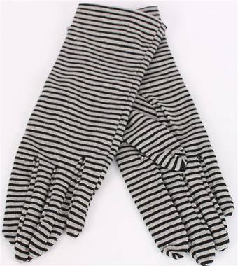 Ladies striped knit glove blk/grey/silver S/LK3232