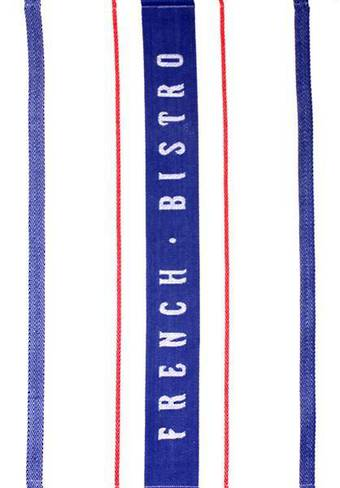 """French Bistro"" tea towel blue/red. Code: T/T-FB/BLU."