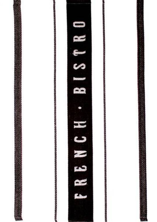 """French Bistro"" tea towel black. Code: T/T-FB/BLK. (NEXT DELIVERY JUNE 2021)"
