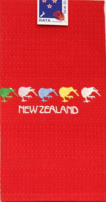 """5 Kiwis"" tea towel red. Code: S760/RED."
